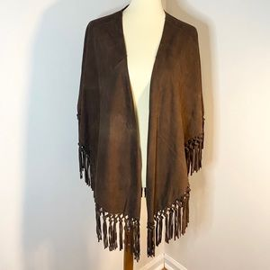 Vintage Italian Leather Fringe Shawl / Cape